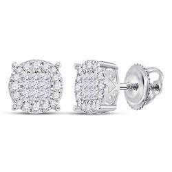 1 CTW Princess Diamond Fashion Cluster Earrings 14kt White Gold - REF-77K9R