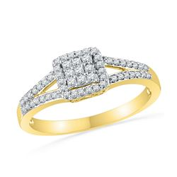 1/4 CTW Round Diamond Square Cluster Split-shank Ring 10kt Yellow Gold - REF-18W3F