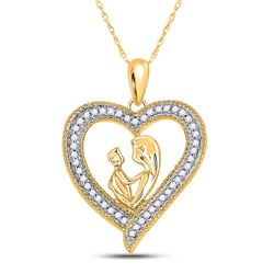 1/5 CTW Round Diamond Heart Mother Child Embrace Pendant 10kt Yellow Gold - REF-16K8R