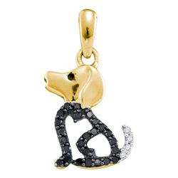1/8 CTW Round Black Color Enhanced Diamond Puppy Dog Doggy Animal Pendant 10kt Yellow Gold - REF-8M4