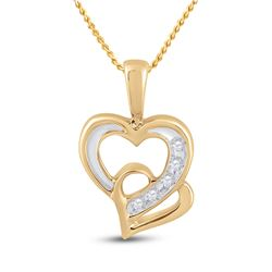 1/20 CTW Round Diamond Double Heart Pendant 10kt Yellow Gold - REF-10M8A