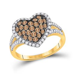 1 & 1/3 CTW Round Brown Diamond Heart Ring 10kt Yellow Gold - REF-63X5T