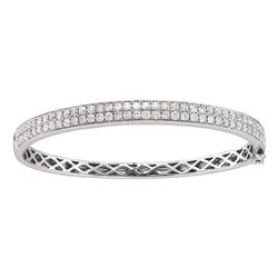 2 CTW Round Diamond Classic Double Row Bangle Bracelet 14kt White Gold - REF-197N9Y
