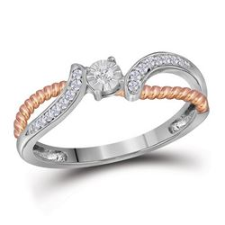 1/10 CTW Round Diamond Rose-tone Rope Bridal Wedding Engagement Ring 10kt White Gold - REF-14X4T