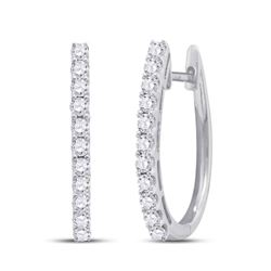 1 CTW Round Diamond Single Row Hoop Earrings 14kt White Gold - REF-87K5R