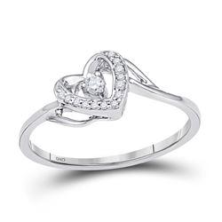 1/12 CTW Round Diamond Heart Promise Bridal Ring 10kt White Gold - REF-10R8H