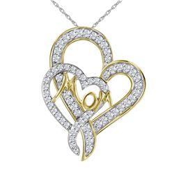1/3 CTW Round Diamond Double Heart Mom Pendant 10kt Yellow Gold - REF-15N3Y