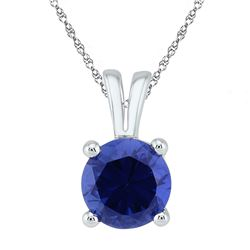 1 & 1/3 CTW Round Lab-Created Blue Sapphire Solitaire Pendant 10kt White Gold - REF-7X5T