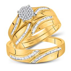 3/8 CTW His & Hers Round Diamond Cluster Matching Bridal Wedding Ring 10kt Yellow Gold - REF-50K4R