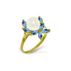 Genuine 2.65 ctw Blue Topaz Ring 14KT Yellow Gold - REF-28F5Z