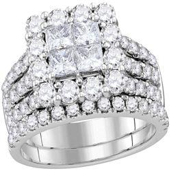 3 CTW Princess Diamond Cluster Bridal Wedding Engagement Ring 14kt White Gold - REF-239W9F