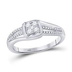 1/4 CTW Round Diamond Cluster Ring 10kt White Gold - REF-24H3W