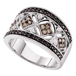 1/2 CTW Round Black Brown Diamond Ring 14kt White Gold - REF-47Y9X