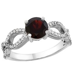1.26 CTW Garnet & Diamond Ring 14K White Gold - REF-49A9X