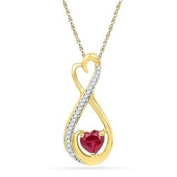5/8 CTW Heart Lab-Created Ruby Solitaire Diamond Infinity Pendant 10kt Yellow Gold - REF-10T8K