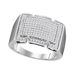 1/2 CTW Mens Round Pave-set Diamond Rectangle Cluster Ring 10kt White Gold - REF-45F3M