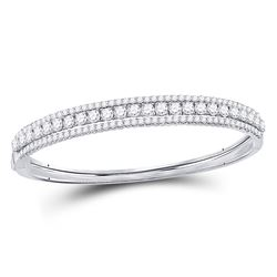 5 CTW Round Diamond 3-Row Bangle Bracelet 14kt White Gold - REF-455W9F