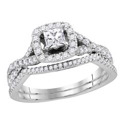 1 CTW Princess Diamond Bridal Wedding Engagement Ring 14kt White Gold - REF-101R9H