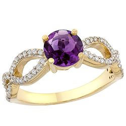 1 CTW Amethyst & Diamond Ring 10K Yellow Gold - REF-49V6R