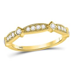 1/4 CTW Round Diamond Milgrain Pinched Ring 10kt Yellow Gold - REF-24F3M