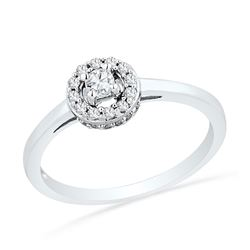 1/4 CTW Round Diamond Solitaire Halo Promise Bridal Ring 10kt White Gold - REF-20A3N