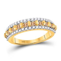 1/2 CTW Round Brown Diamond Triple Row Ring 10kt Yellow Gold - REF-20R3H