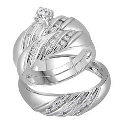 1/4 CTW His & Hers Round Diamond Round Matching Bridal Wedding Ring 14kt White Gold - REF-71T9K