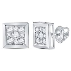 1/2 CTW Round Diamond Square Cluster Stud Earrings 14kt White Gold - REF-41A9N