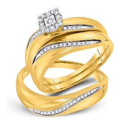 1/5 CTW His & Hers Round Diamond Solitaire Matching Bridal Wedding Ring 10kt Yellow Gold - REF-33T3K