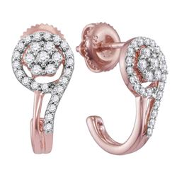 1/3 CTW Round Diamond J Hoop Earrings 10kt Rose Gold - REF-26K9R