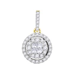 1/2 CTW Princess Round Diamond Framed Cluster Pendant 14kt Yellow Gold - REF-41R9H