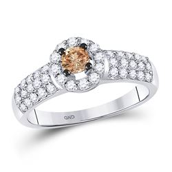 3/4 CTW Round Brown Diamond Solitaire Halo Bridal Wedding Engagement Ring 14kt White Gold - REF-65A9