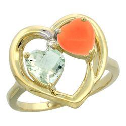 1.31 CTW Amethyst & Diamond Ring 10K Yellow Gold - REF-23Y5V