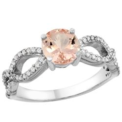 0.95 CTW Morganite & Diamond Ring 10K White Gold - REF-53H3M