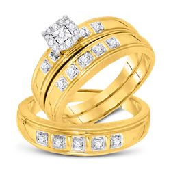 1/4 CTW His & Hers Round Diamond Solitaire Matching Bridal Wedding Ring 10kt Yellow Gold - REF-41N9Y