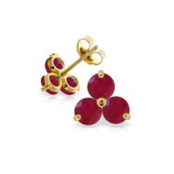 Genuine 1.50 ctw Ruby Earrings 14KT Yellow Gold - REF-22K2V