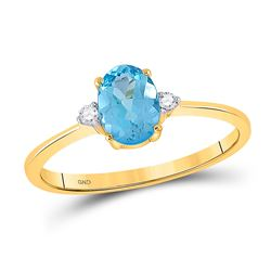 1 CTW Oval Lab-Created Blue Topaz Solitaire Diamond Ring 10kt Yellow Gold - REF-9F6M