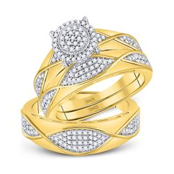 1/2 CTW His & Hers Round Diamond Cluster Matching Bridal Wedding Ring 10kt Yellow Gold - REF-63H5W