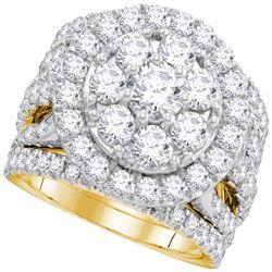 4 CTW Round Diamond Halo Bridal Wedding Engagement Ring 14kt Yellow Gold - REF-395K9R