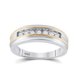 1/4 CTW Mens Round Channel-set Diamond Wedding Ring 14kt White Two-tone Gold - REF-35T9K