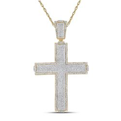 2 & 1/2 CTW Mens Round Diamond Cross Charm Pendant 10kt Yellow Gold - REF-234H3W