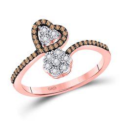 1/5 CTW Round Brown Diamond Bypass Flower Heart Ring 10kt Rose Gold - REF-16M8A