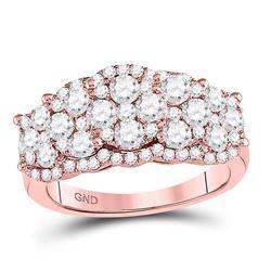 2 CTW Round Diamond Vintage-inspired Fashion Ring 14kt Rose Gold - REF-156F3M