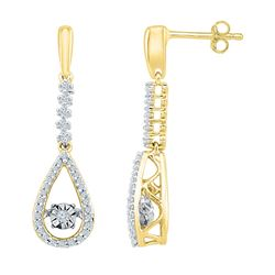 1/5 CTW Round Diamond Moving Twinkle Teardrop Dangle Earrings 10kt Yellow Gold - REF-26M3A