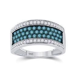 1 CTW Round Blue Color Enhanced Diamond Ring 10kt White Gold - REF-38T4K