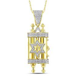 3/8 CTW Mens Round Diamond Torah Magen David Scroll Charm Pendant 10kt Yellow Gold - REF-47W9F
