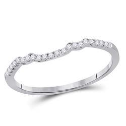 1/10 CTW Round Diamond Ring 14kt White Gold - REF-14H4W
