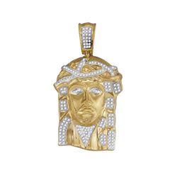 3/8 CTW Mens Round Diamond Jesus Face Charm Pendant 10kt Yellow Gold - REF-57H5W