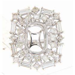 2.7 CTW Diamond Semi Mount Ring 14K White Gold - REF-285F4N