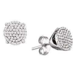 1/3 CTW Round Diamond Circle Cluster Stud Earrings 10kt White Gold - REF-20M9A
